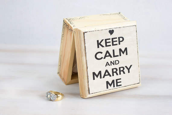 Mariage - Wedding Ring Bearer Box Wedding Box Engagement Box Wedding Ring Box Pillow Alternative, Keep Calm and Marry Me Proposal Ring Box Ring Holder