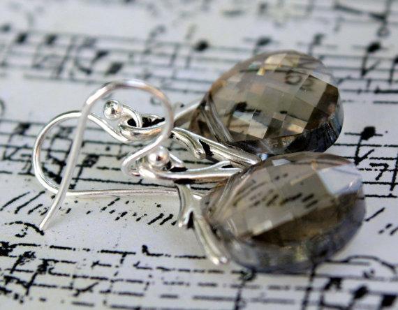 Свадьба - Silver Earrings, Silver Shade Swarovski Briolette Earrings in Sterling Silver