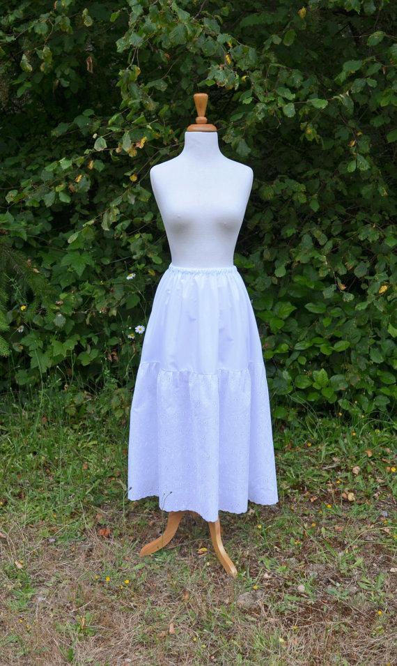 Свадьба - Maxi Slip Skirt Extender Long Petticoat White Cotton Batiste w Embroidered Eyelet Bridal Wedding Prairie Ren Faire Victorian Boho Cottage