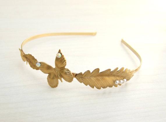 Свадьба - Bridal Gold Headband, Gold Leaf Headband, Butterfly  Headband,Floral Headband, Wedding Headpiece