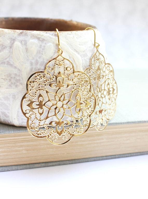 Свадьба - Big Gold Earrings Lace Filigree Earrings Modern Large Dangle Gold Spanish Style Boho Chic Gold Bridal Jewelry Bridesmaids Gift Lightweight