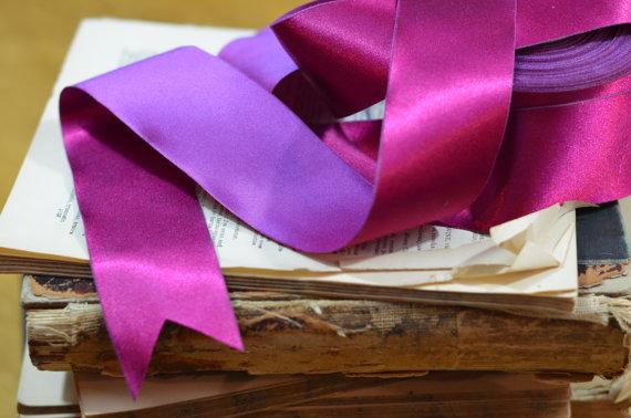 Свадьба - reversible fuchsia and violet satin ribbon
