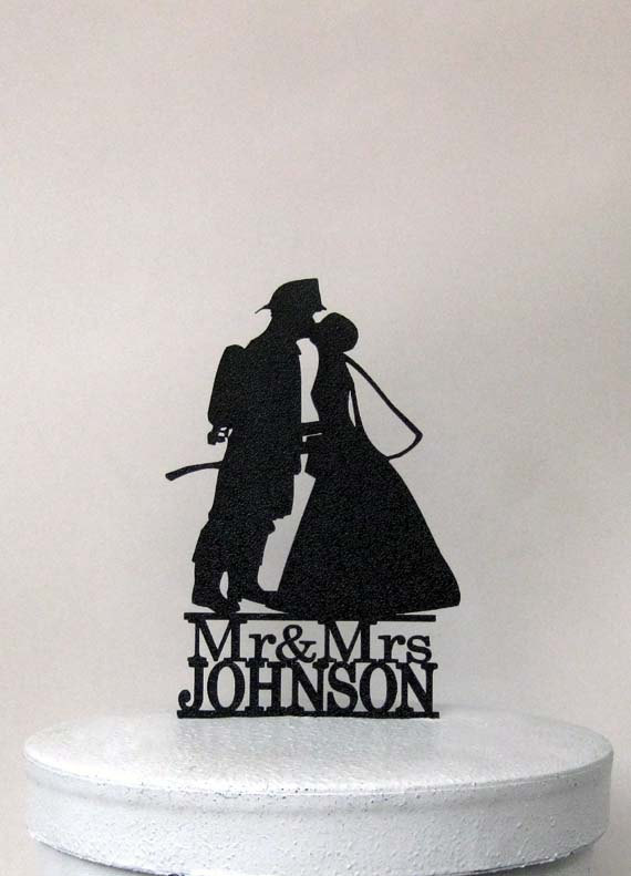 Mariage - Personalized Wedding Cake Topper - Fireman and Bride Silhouette with Mr & Mrs name