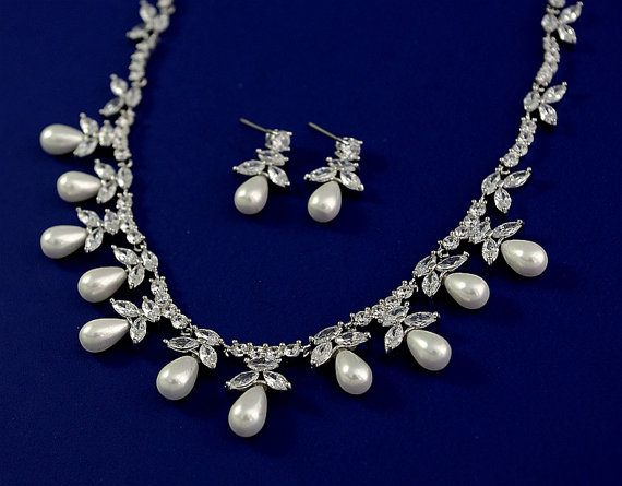 Exquisite Cubic Zirconia Jewelry Set Wedding Pearl Necklace And Earrings Bridal Cz Cer White Gold Fl