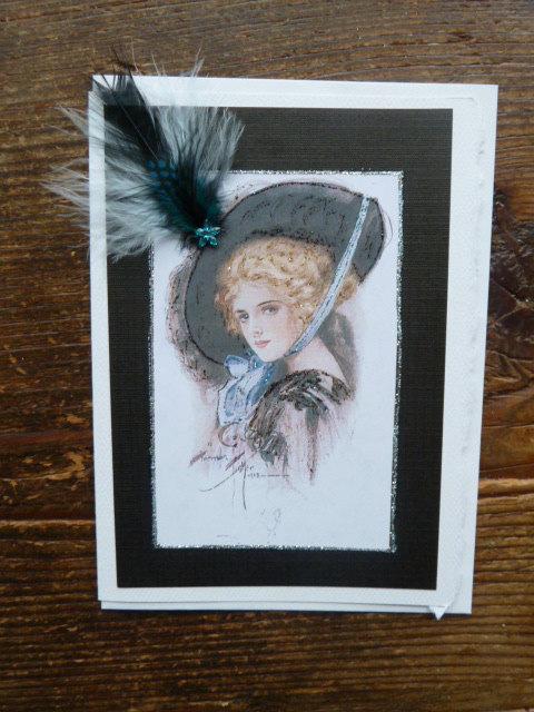 """زفاف - 1908 """"  Blue feather Bonnet"""" from Harrison Fisher Bachelor Bells 5x7 note card"""