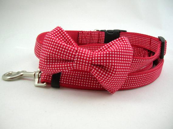 Свадьба - Boy Dog Collar with Bow Tie and Adjustable Leash Set