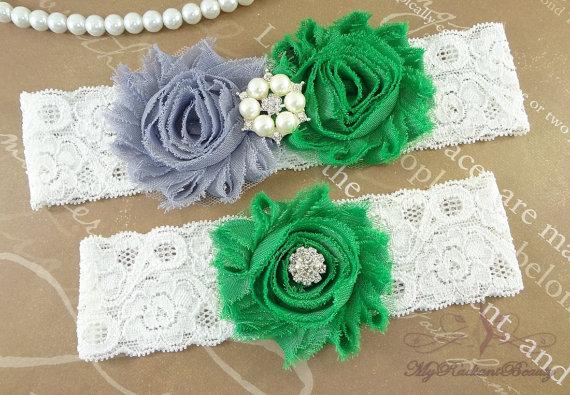 Свадьба - Wedding Garter, Garter, Bridal Garter, Shabby Gray Garter, Green Garter, Garter set, Garter belt, Lace Garter, Handmade Garters Set GTF0028G