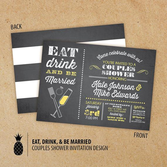 chalkboard inspired eat drink & be married couples shower, Wedding invitations