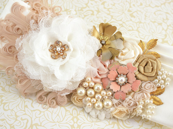 Sash, Bridal, Wedding, Ivory, Blush, Cream, Gold, Brooches, Feathers ...