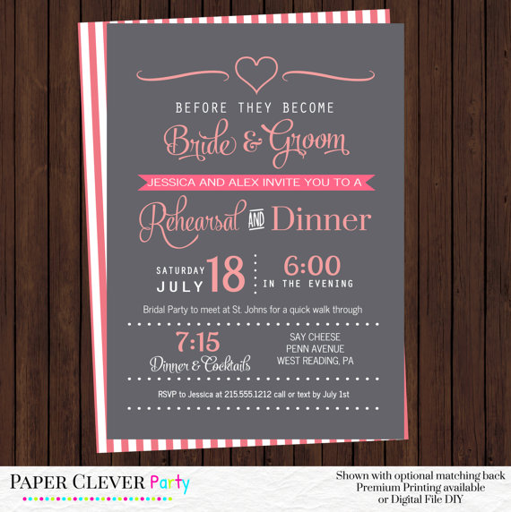 Hochzeit - Wedding Rehearsal Invitations Coral and Gray Modern Dinner Party Bridal Shower Personalized Prints or Printable