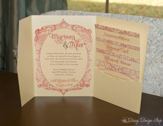 Wedding - Wedding Invitation Pocketfold with Bracket Shaped Invitation - Vintage Damask and Frame - Invitation with Enclosures and Envelopes