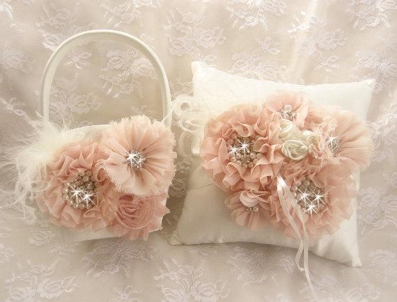 Свадьба - Blush Flower Girl Basket, Ring Bearer Pillow, Hand dyed Blush and Cream Flower Girl Basket Set Wedding Pillow Elegant and Classic