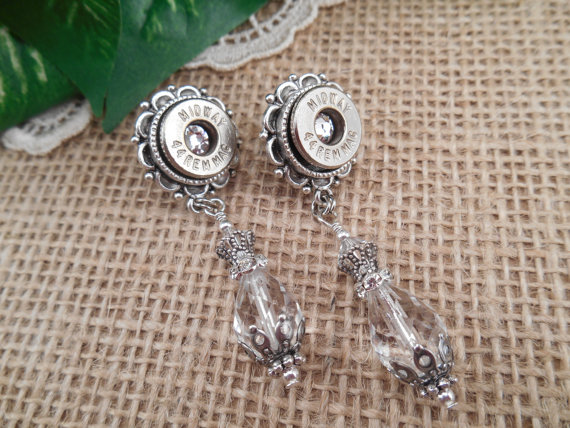 Hochzeit - Bullet Jewelry ~ 44 Magnum ~ Crystal Bling Earrings ~ Bridal Cowgirl