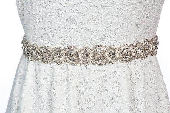 Свадьба - bridal sash,  rhinestone sash , wedding beaded sash - Lena
