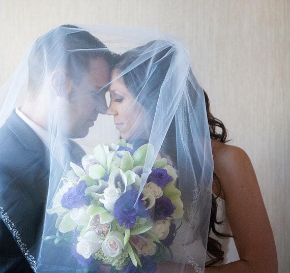 Свадьба - Wedding Veil Sparkle Pearl Sequin Beaded One Tier Veil Waist Length 30 Inch