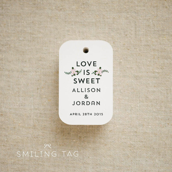 Love Is Sweet Floral Bouquet Wedding Favor Tags