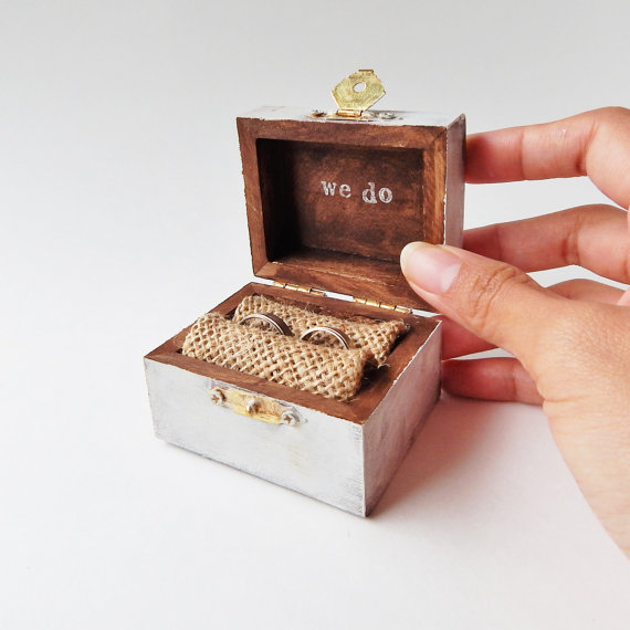Mini custom color rustic ring bearer treasure chest ring for Cute engagement ring boxes