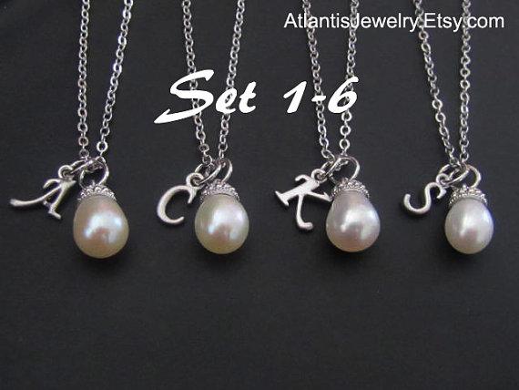 Wedding - SALE 15% OFF: Bridesmaid Gift Necklace Personalized Necklace Personalized Jewelry Weddings Bridal Necklace Wedding Jewelry Message Card