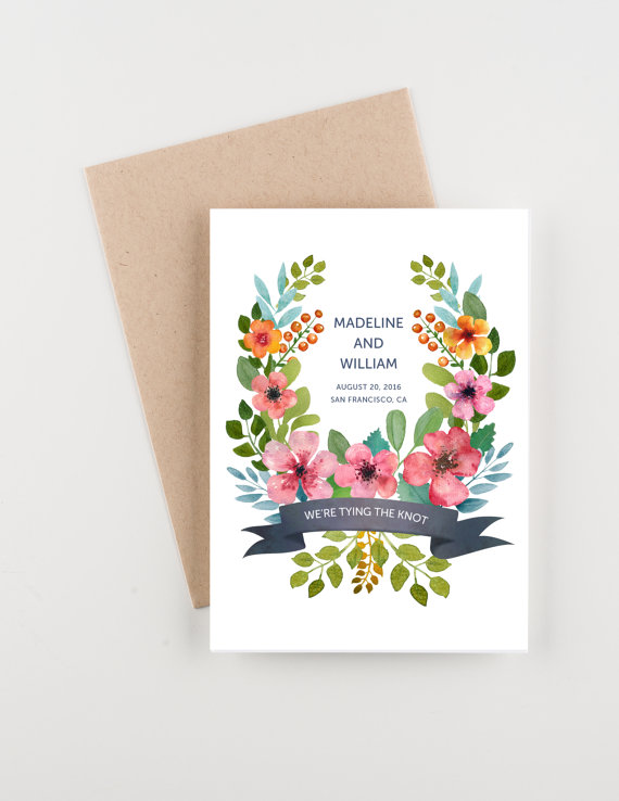 Mariage - We're Tying The Knot Save The Date, Wedding Announcement or Bridal Shower