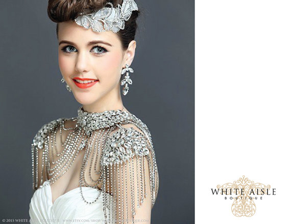 Mariage - Crystal Bridal Shoulder Necklace, Statement Necklace, Vintage Inspired Necklace, Backdrop Necklace