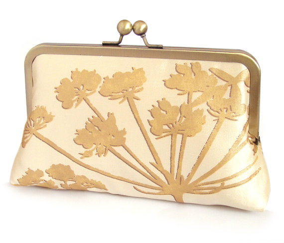 Свадьба - Clutch bag, silk luxury purse, bridal accessory, woodland wedding, bridesmaid gift, gift box, gold Queen Anne's Lace