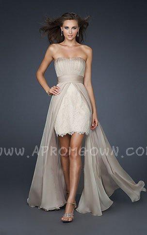Wedding - Gorgeous La Femme 17547 Nude Strapless Lace Hi Low Prom Dress