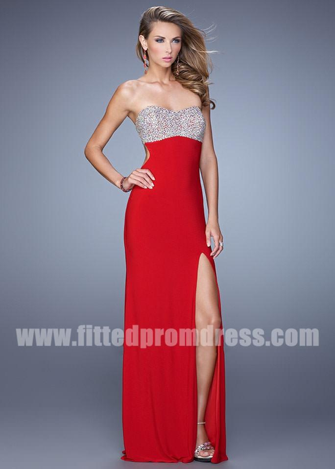 2015 Beaded Top La Femme 21200 Strapless Open Back Prom Dress ...