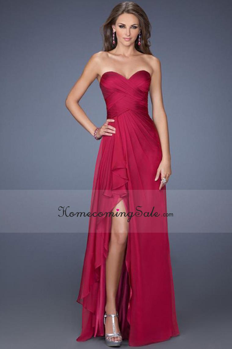 2014 A Line Sweetheart Sleeveless Floor Length Burgundy Evening/Prom ...