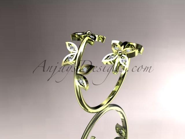 Wedding - 14k yellow gold diamond leaf and vine wedding ring,engagement ring,wedding band ADLR27