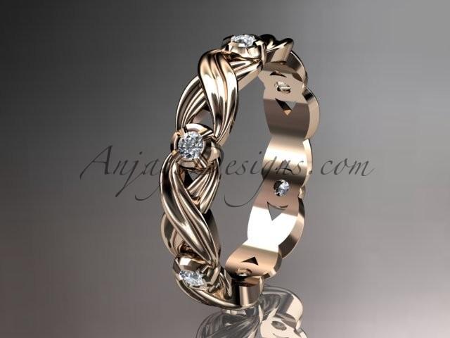 Wedding - 14kt rose gold diamond leaf and vine wedding ring, engagement ring, wedding band.ADLR19. nature inspired jewelry