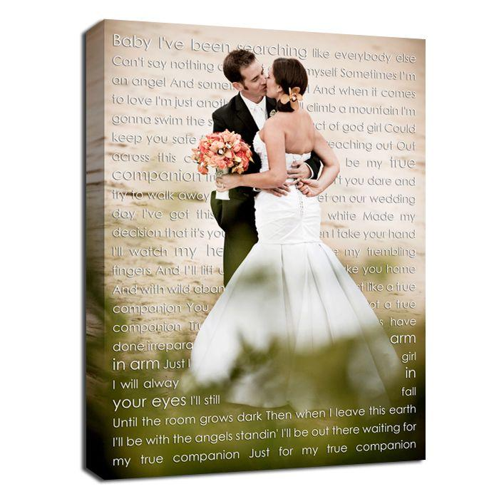 Wedding - Cotton Anniversary Gift, Personalized Canvas With Photo And Words Love Letters, Your Words Wedding Canvas