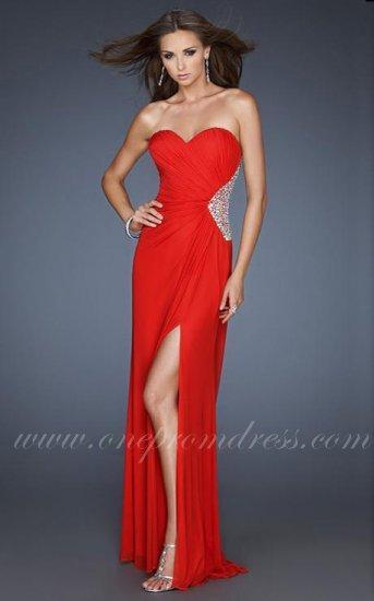 8b8508360b07 Red Sparkle La Femme Slit Prom Dress 18771 Open Back Sale #2337497 ...