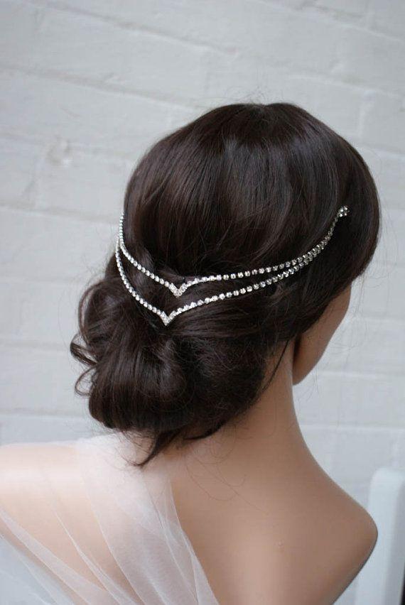 Свадьба - Bohemian Wedding Headpiece - Downton Abbey Style Bridal Accessory - Art Deco Headpiece- Silver Crystal Hair Accessory - -Hair Jewellery