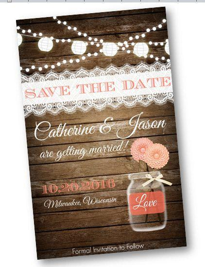 Coral Wedding Save The Date Peach Wood Rustic Mason Jar Card String Of Lights Lace Vintage Shabby Chic Printable Invitation