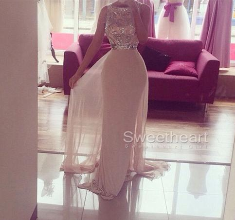 Свадьба - Custom Made White A-line Round Neck Chiffong Long Prom Dress, Formal Dress from Sweetheart Girl