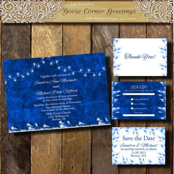 Cobalt Blue Wedding Invitation Suite String Lights Winter Wedding ...