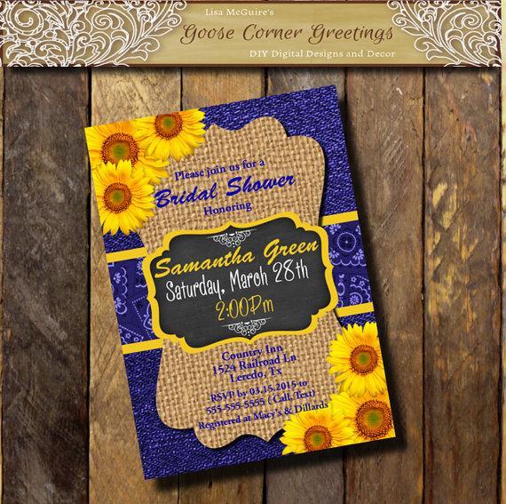 Wedding - Denim & Burlap SUNFLOWER Invitation Cobalt blue Yellow Couples Bridal Baby Shower Invitation Birthday Rehearsal Dinner Wedding invitations
