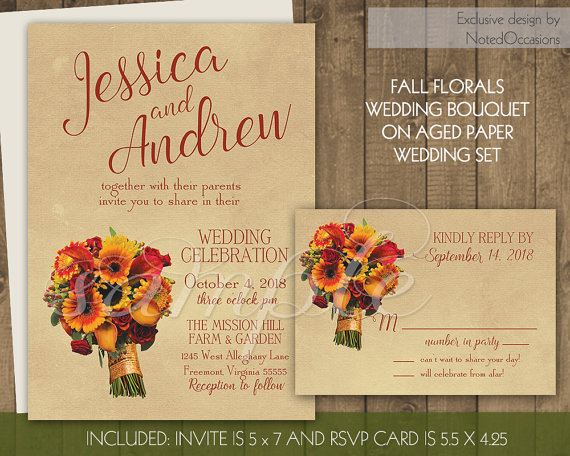 Fall Wedding Invitations Rustic Autumn Florals Invitation Set Sunflower Lily Vintage Kraft Paper Background DIY Digital Printable