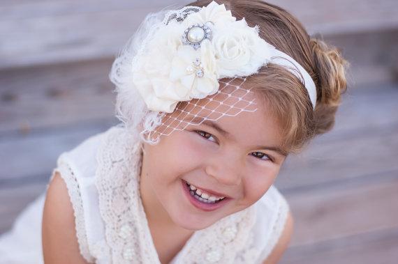 Mariage - Flower girl headband - Wedding headband - Ivory Flower Headband - Photo Prop - Baby Headband - Wedding hairpiece