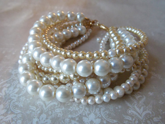 Gold Pearl Bracelet Twisted Chunky Pearls Bridal Jewelry Multi