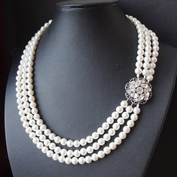Wedding - Multi Strand Pearl Bridal Necklace, Vintage Style Pearl Wedding Necklace, Statement Rhinestone & Pearl Necklace, Wedding Jewelry, CELINE