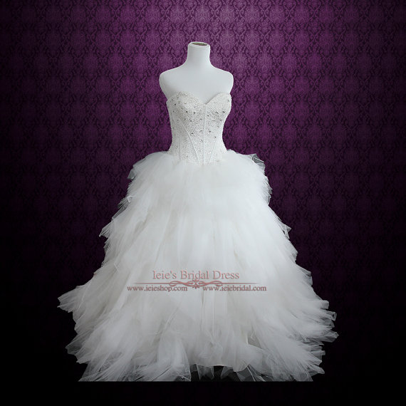 Hochzeit - Strapless Princess Ball Gown Wedding Dress with Tulle Feather Ruffles and Sparkly Embroidery