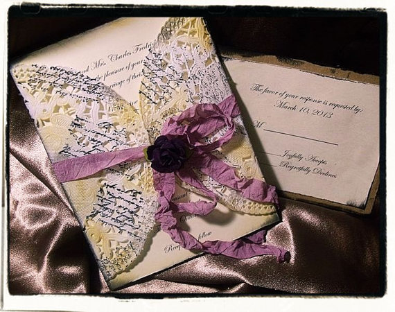 Purple Plum French Vintage Inspired Wedding Invitation Suite