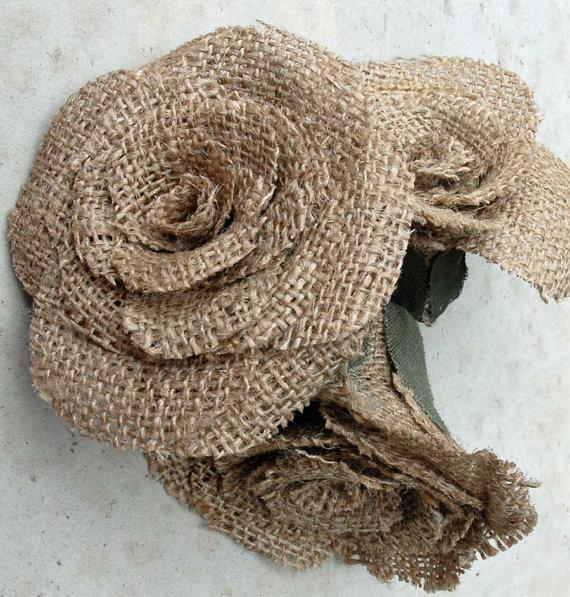 Wedding - Burlap Roses Wedding Bouque