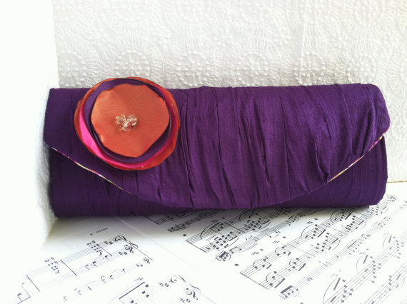 Wedding - Wedding clutch purse with fabric flower. Custom colors. Gathered silk clutch with flower. Personalized Bridesmaid bag.