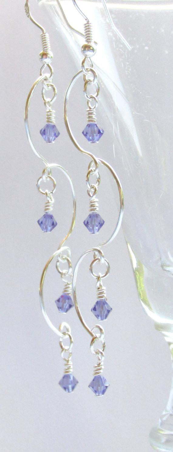 Свадьба - Chandelier Earrings, Tanzanite Beaded Earrings, Purple & Silver Earrings, Prom 2015, Bridal Jewelry, Bridesmaid Gift, Birthstone Jewelry