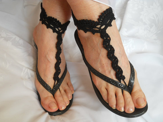 Mariage - CROCHET BAREFOOT SANDALS / Barefoot Sandles Shoes Beads Victorian Anklet Foot Women Wedding Sexy Accessories Bridal Elegant Feminine Chic