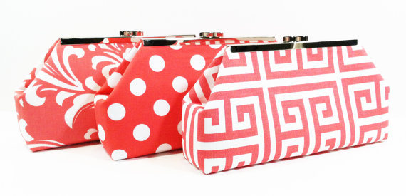 Wedding - Bridesmaid Clutch Wedding Party Purses Personalized Gifts - You Pick Coral Salmon Peach