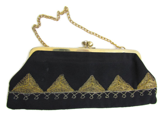 Wedding - Black Gold Clutch Bag 1920s Gatsby Wedding Purse Bag Art Deco Bridesmaid Clutch Bags Black Evening Beaded Clutches