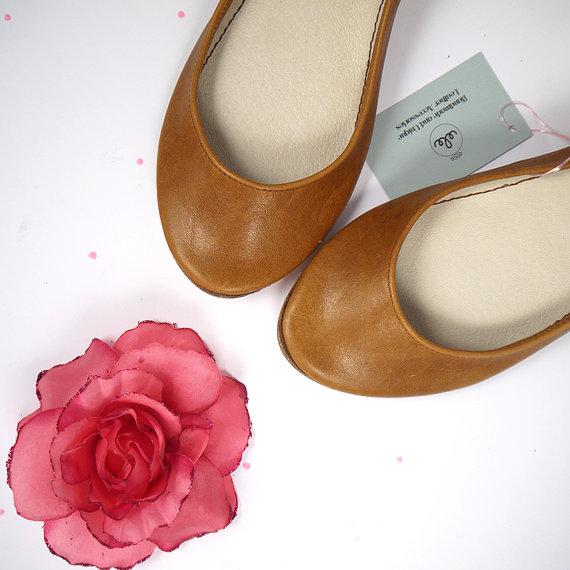 Wedding - Tan Light Brown Soft Leather Handmade Ballerinas Flats Shoes